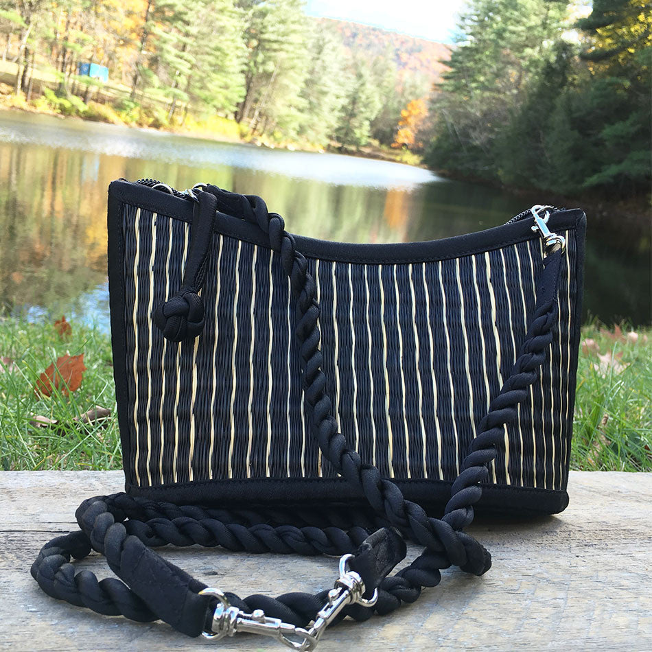 The Grass is Greener Purse - Black Stripe, Cambodia