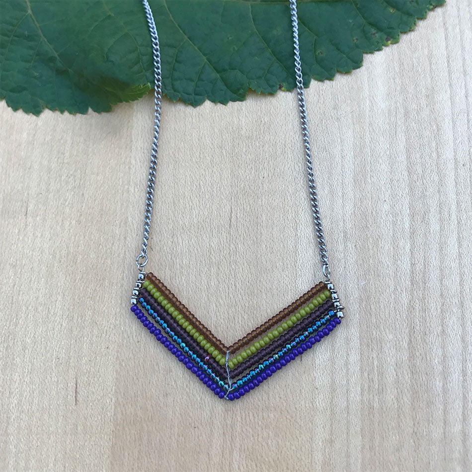 Fair trade beaded chevron necklace handmade in Guatemala