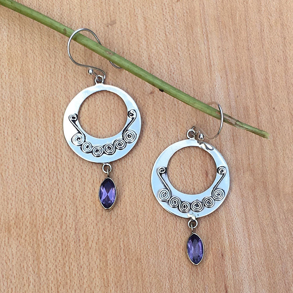 Circle of Trust Amethyst Earrings, Nepal