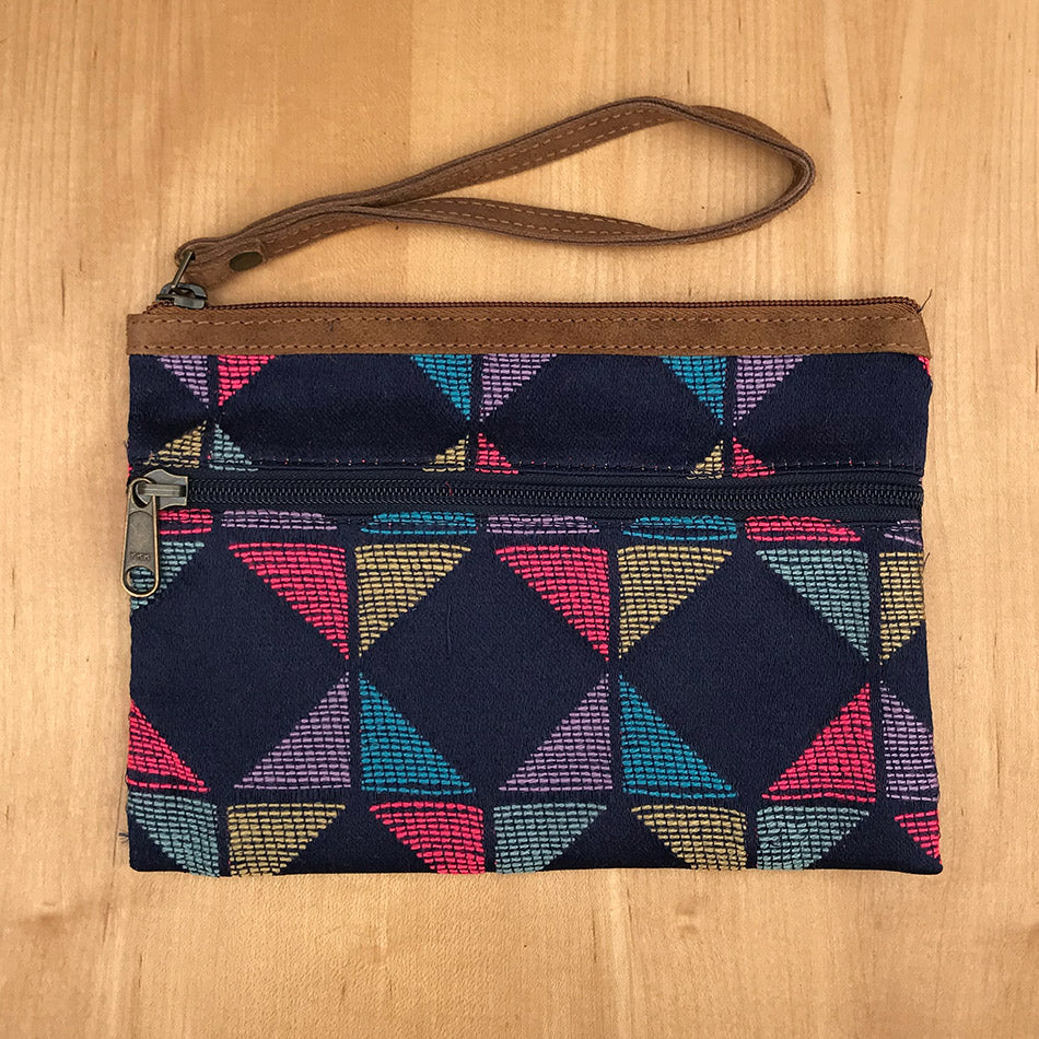 Fair trade recycled clutch handmade by women in India
