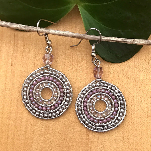 Fair trade beaded earrings handmade in Guatemal