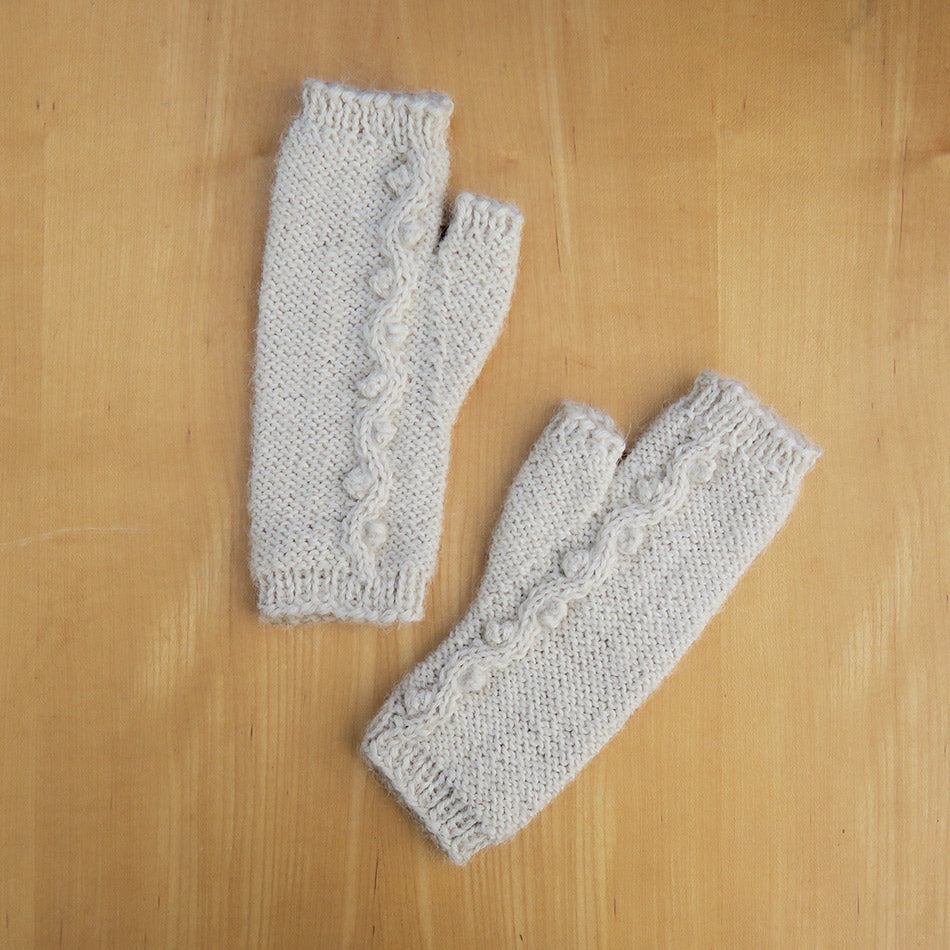 Fair trade fingerless alpaca gloves handmade in Peru