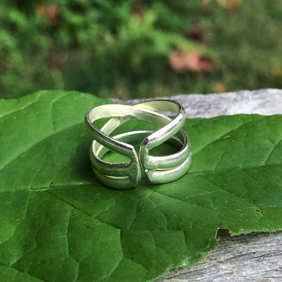 Criss Cross Ring - Silver, India