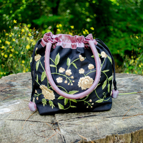 Flower Blossom Silk Purse - Black, Vietnam