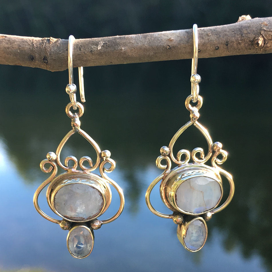 Dancing Moonstone Earrings, Nepal