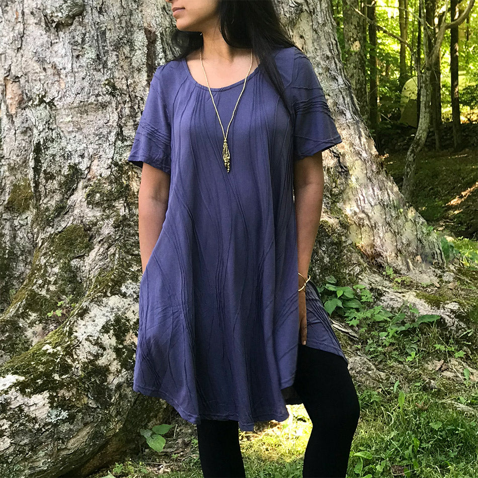 Cotton Pocket Sleeve Dress - Denim, Nepal