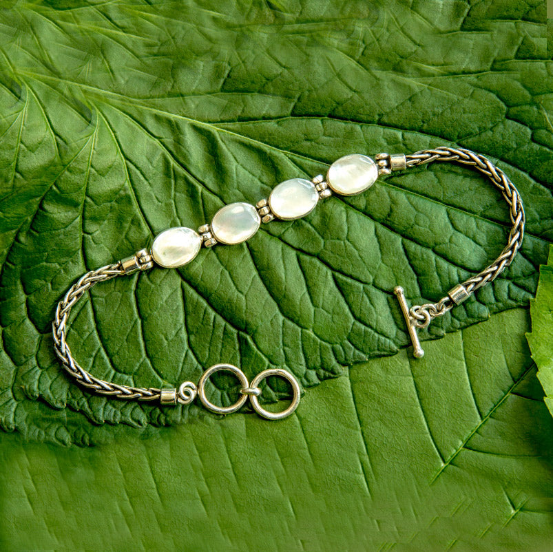Sterling silver pearl fair trade bracelet handmade in Bali