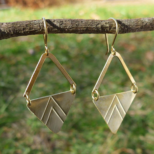 Fair trade brass earrings handmade in Kenya.