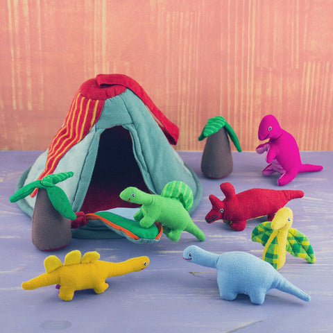 Fair trade cotton dinosaur toy handmade in Sri Lanka