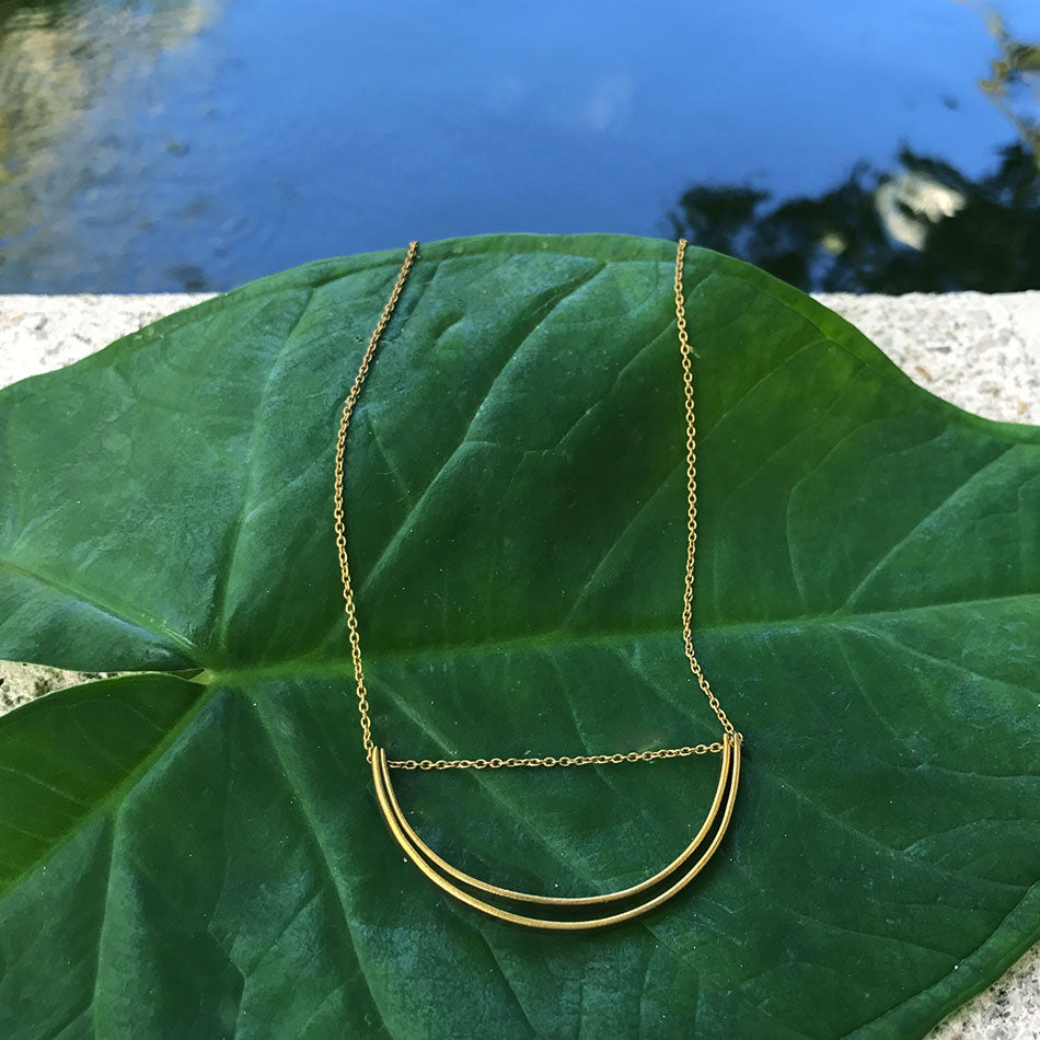Fair trade, handmade brass necklace made by survivors of human trafficking in India