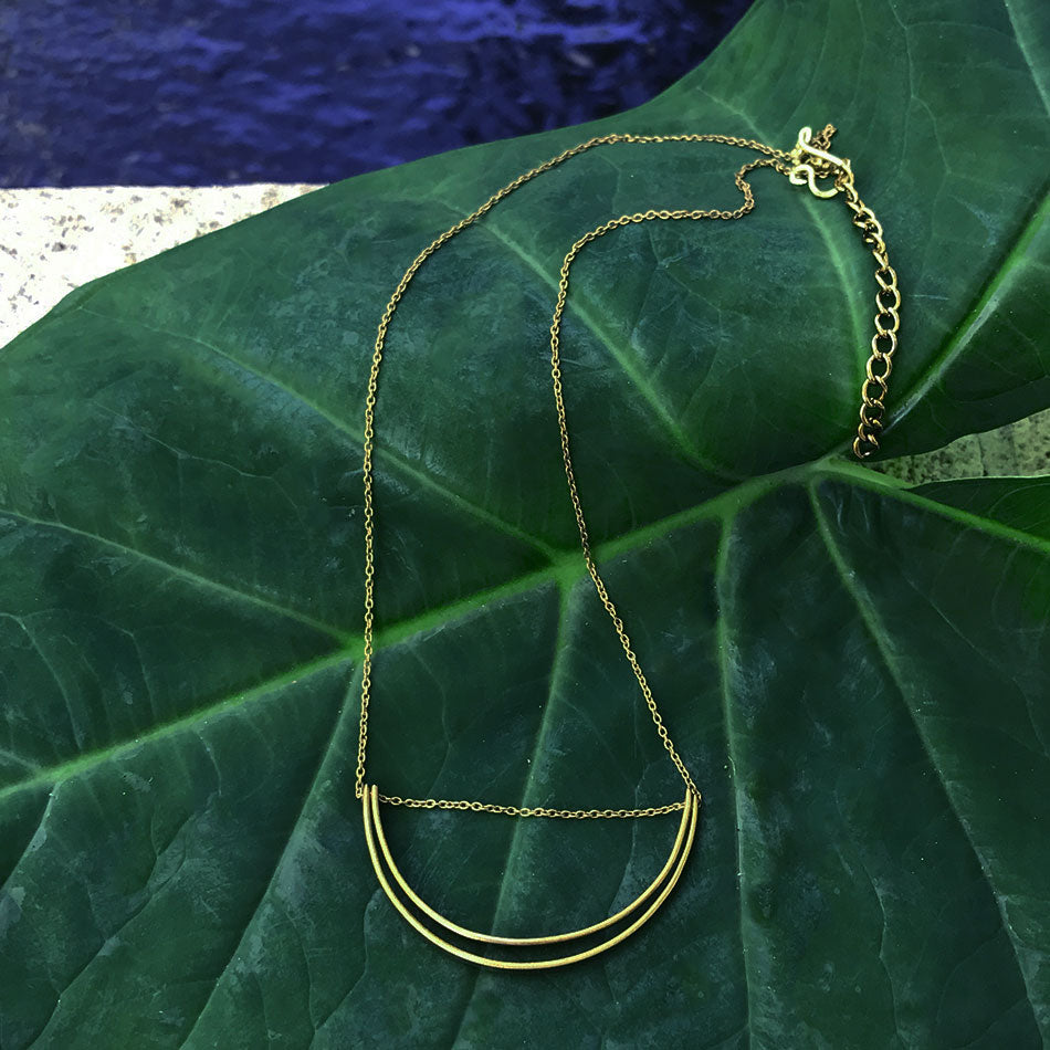 Fair trade brass necklace handmade by survivors of human trafficking in India