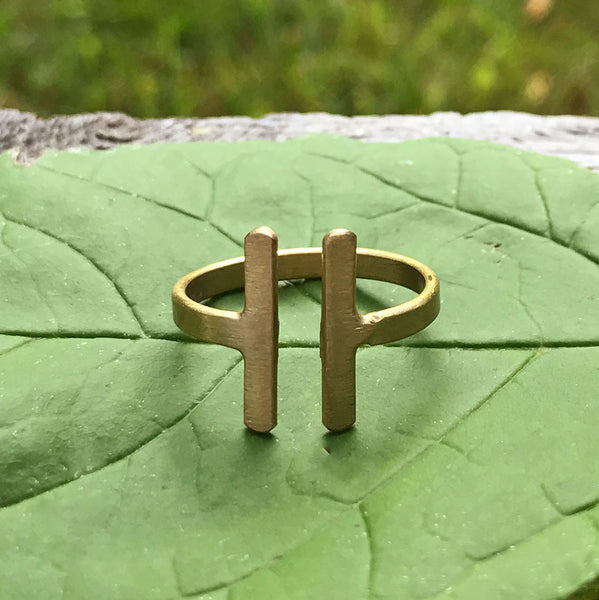 Parallel Bar Ring - Gold, India