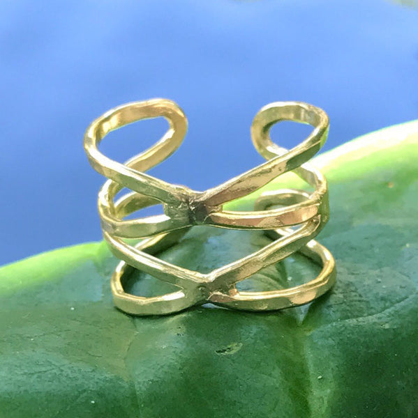 Fair trade brass ring handmade by women in India
