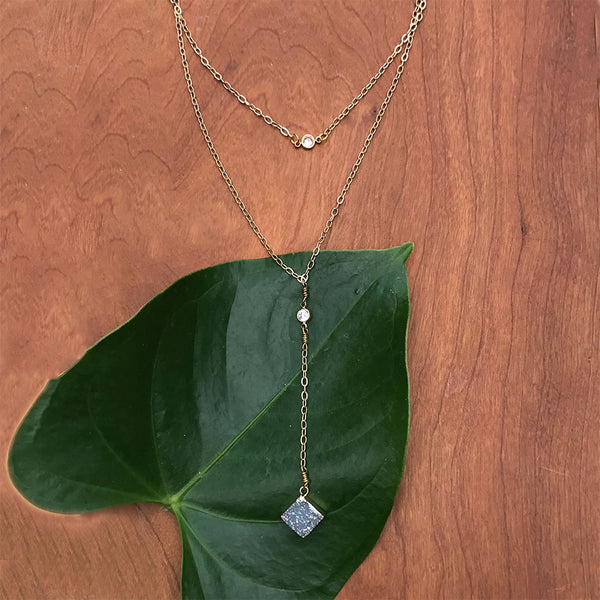 Fair trade druzy necklace handmade by survivors of human trafficking.