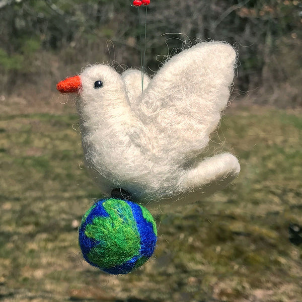 Felted Dove with Globe, Guatemala