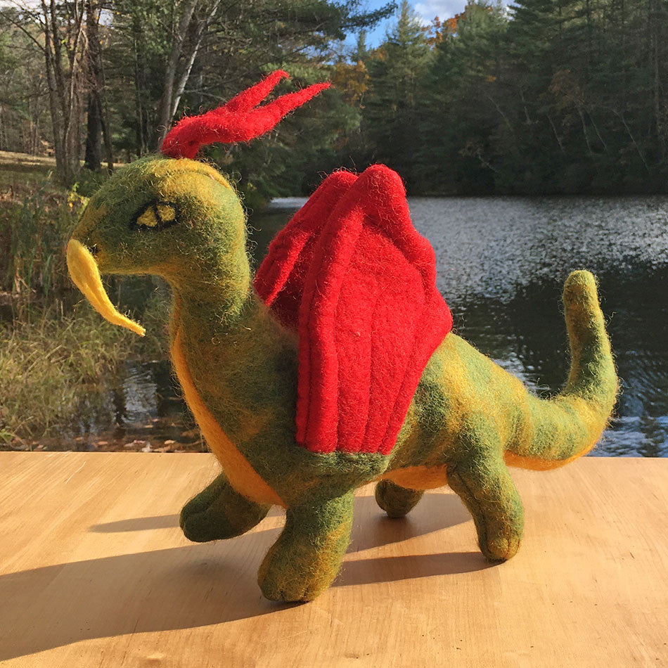 Fair trade felt toy dragon handmade by women in Nepal