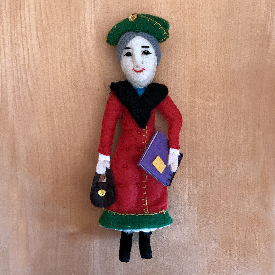 Eleanor Roosevelt ornament handmade by women in Kyrgyzstan