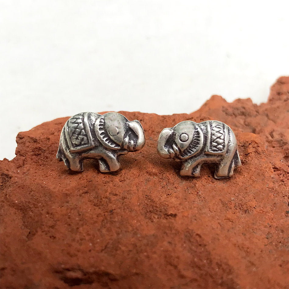 Sterling silver fair trade elephant studs earrings handmade in Thailand