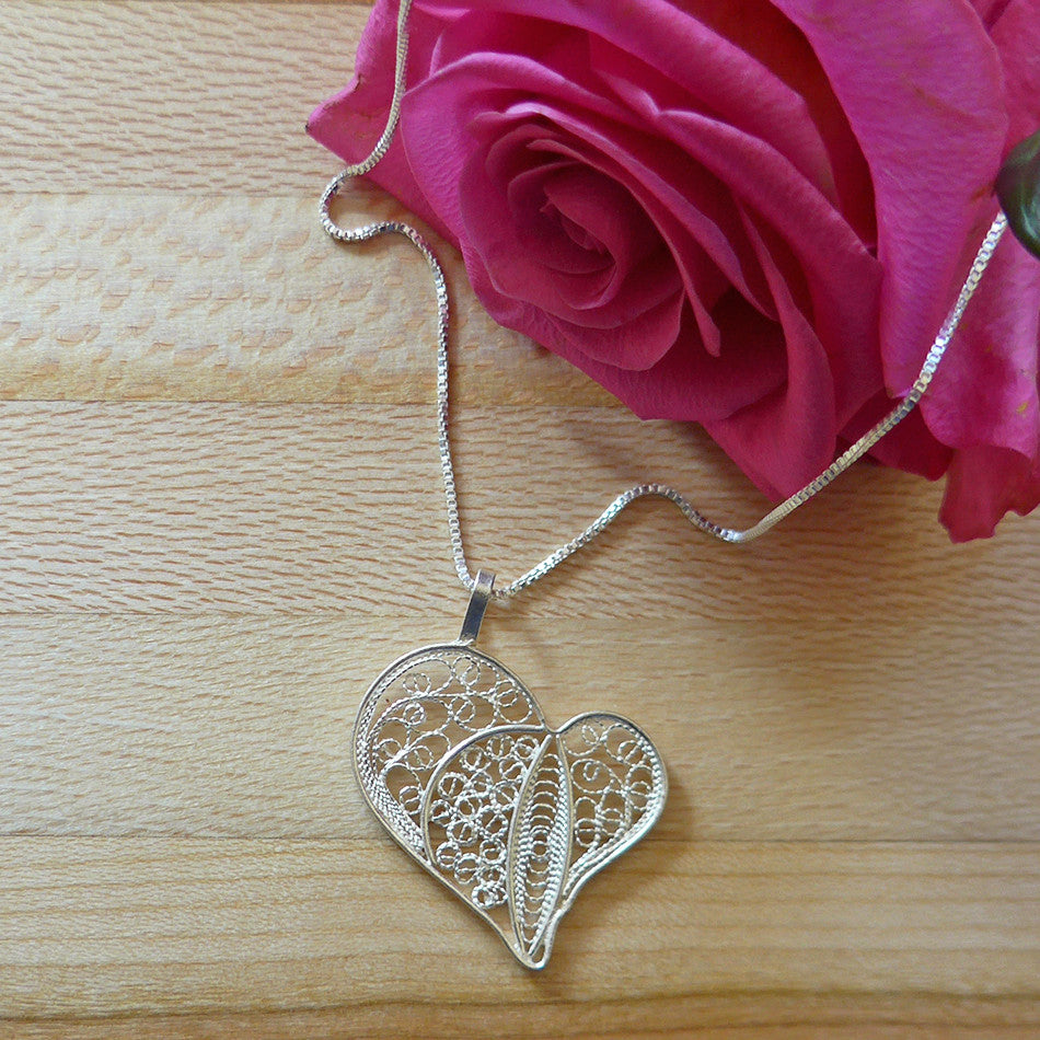 Fair trade sterling silver heart necklace from Peru.