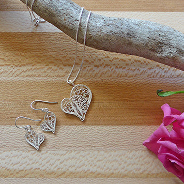 Sterling silver fair trade heart necklace and earring set.