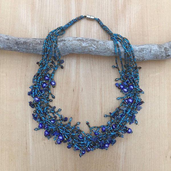 Festivity Necklace - Blue, Guatemala