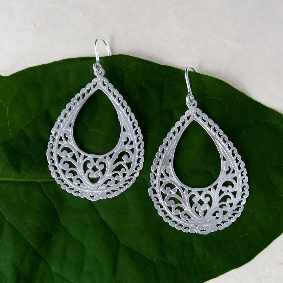Fair trade sterling silver filigree earrings