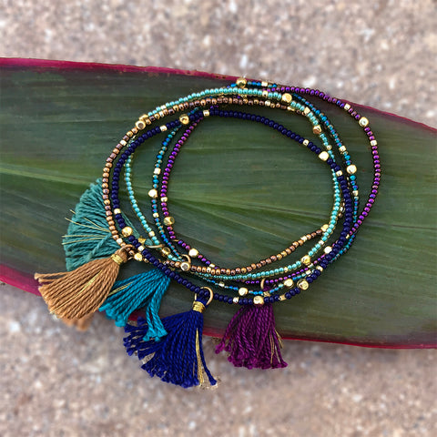 Fair trade beaded bracelets with tassels handmade in Guatemala