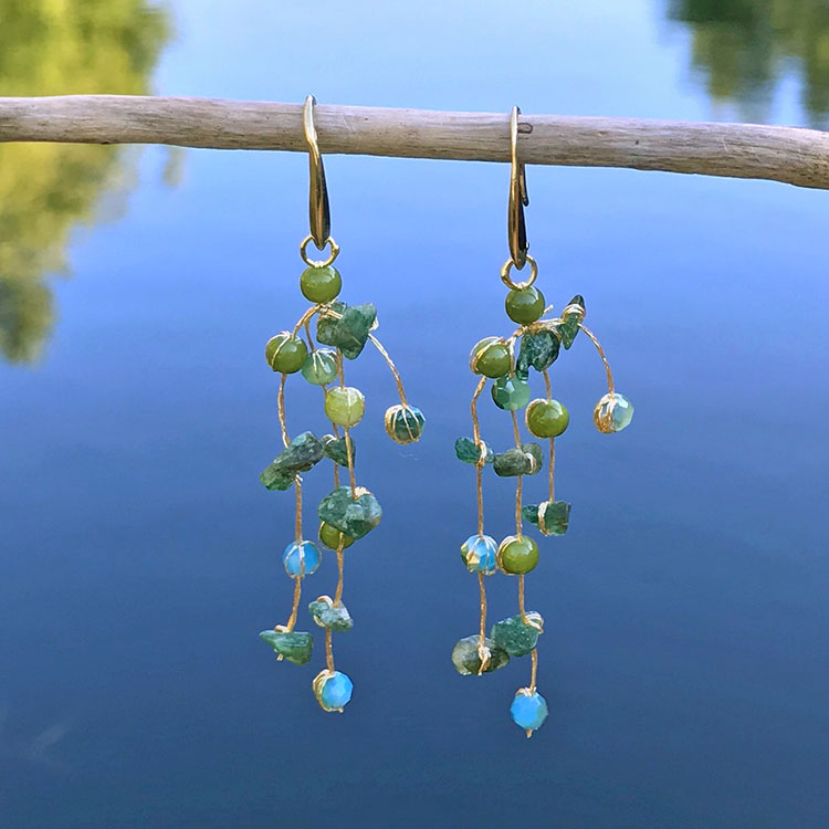 Fair trade beaded earrings handmade in Thailand.