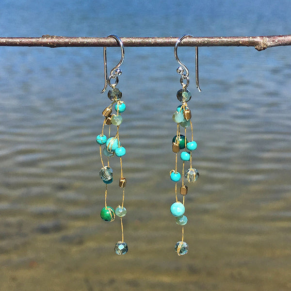 Floating Earrings - Turquoise, Thailand