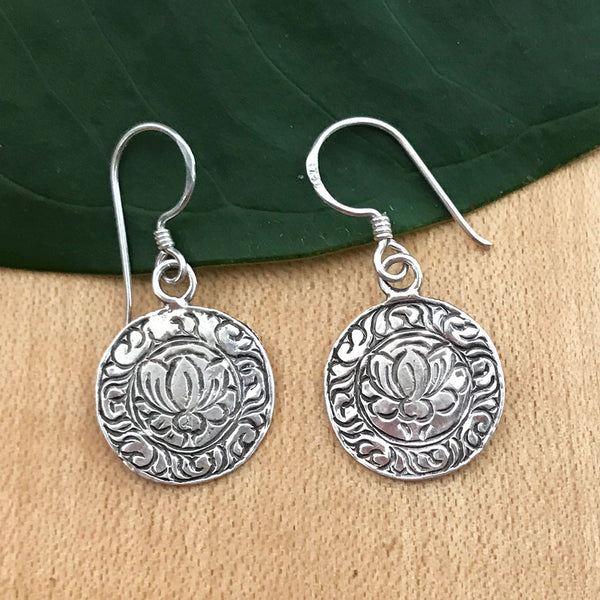 Lotus Bloom Earrings - Sterling Silver, Thailand