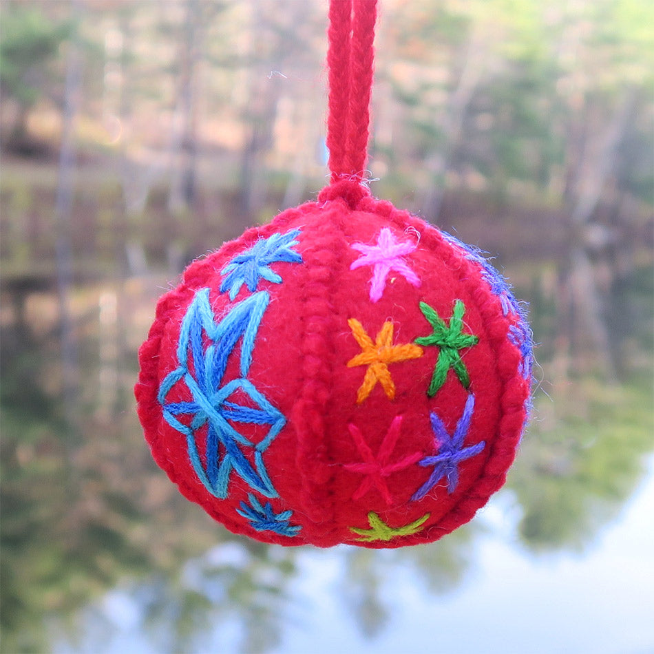 Fair trade embroidered globe ornament