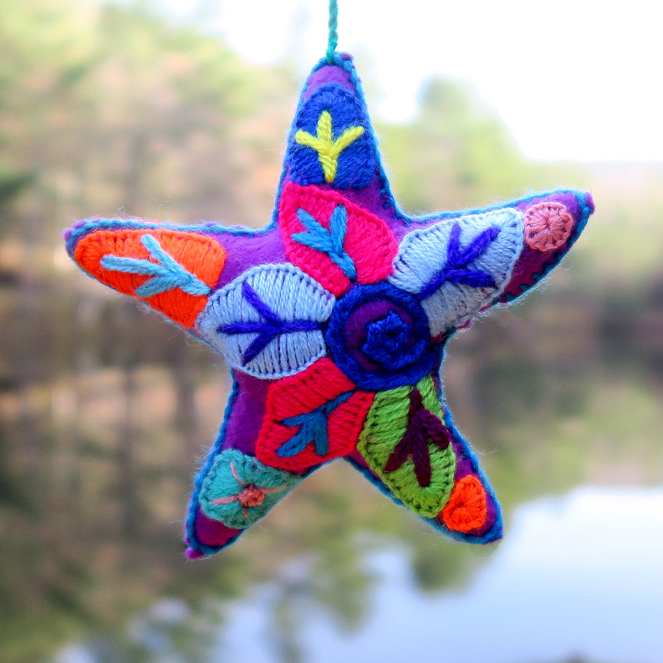 Fair trade star ornament hand embroidered in Mexico