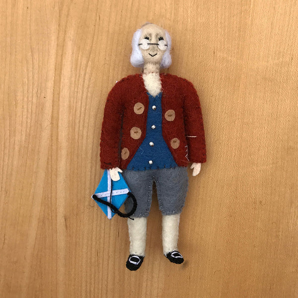 Fair trade Ben Franklin ornament handmade by women artisans.