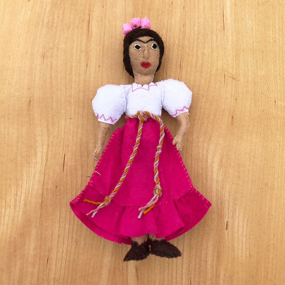 Frida Kahlo ornament hand felted by women artisans.