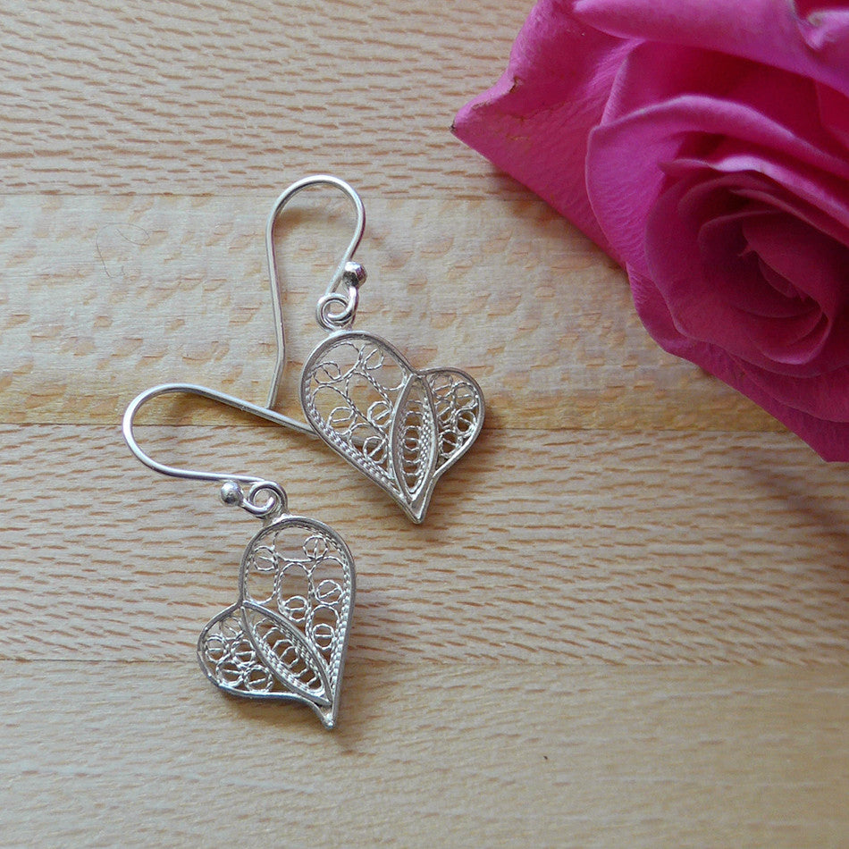 Sterling silver filigree earrings, fair trade from Peru.