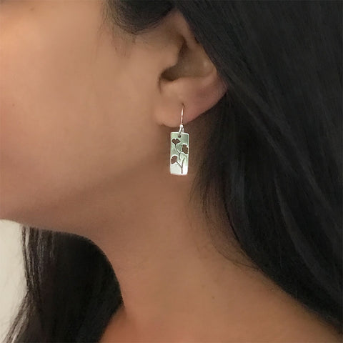 Fair trade sterling silver ginkgo earrings handmade in Mexico