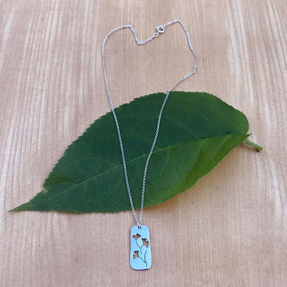 Fair trade sterling silver ginkgo necklace handmade in Mexico