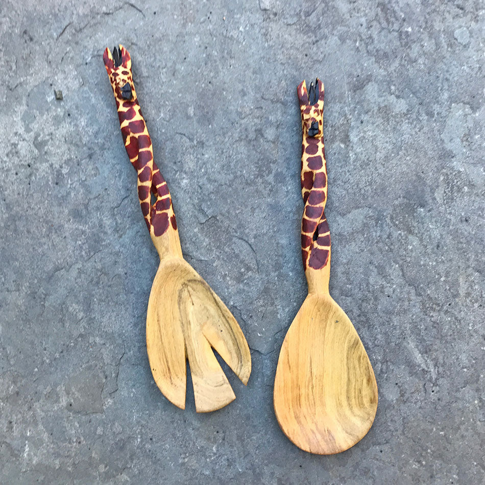 Giraffe Twisted Salad Servers, Kenya