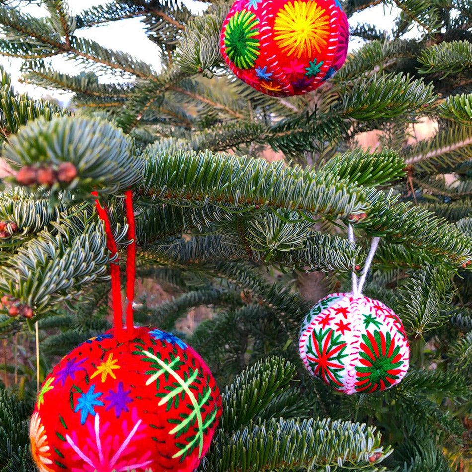 Fair trade globe embroidered ornaments