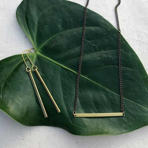 Fair trade brass minimalist earrings handmade in Peru