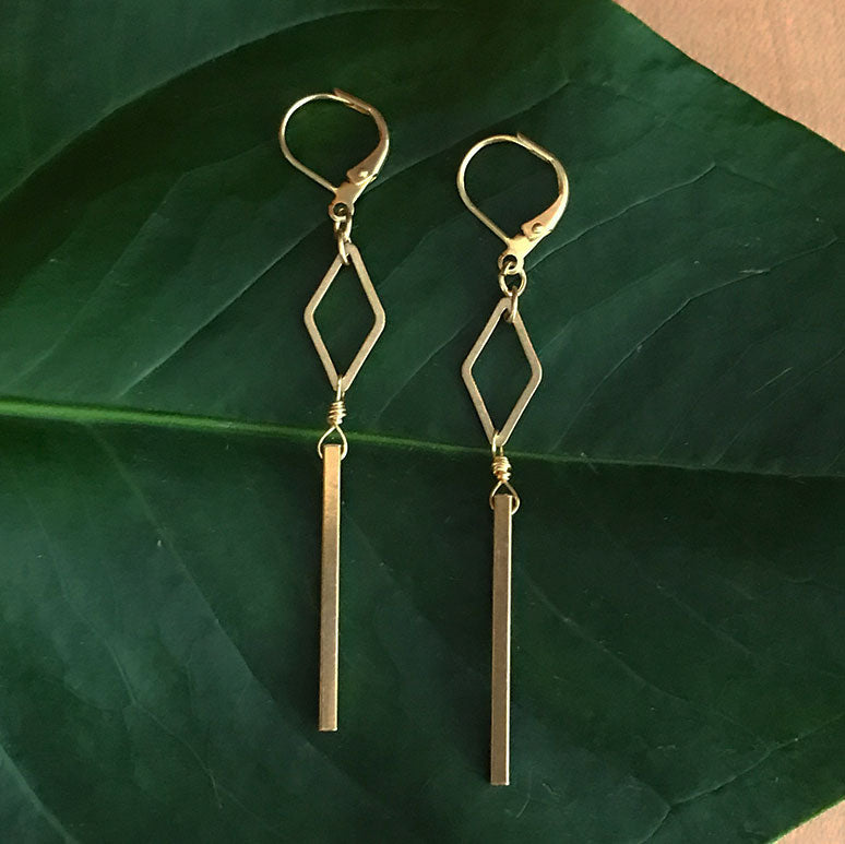 Diamond Bar Earrings - Gold, Guatemala