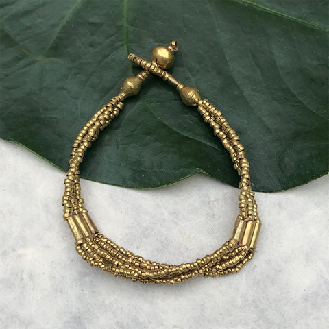 Fair trade recycled artillery bracelet handmade by women in Ethiopia.