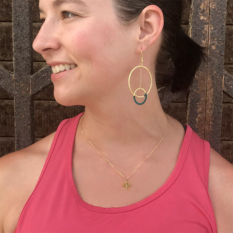 Fair trade brass hoop earrings handmade by women in India