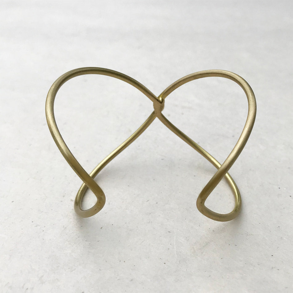 Fair trade recycled brass cuff handmade by women in India