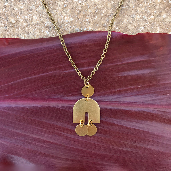 Fair trade brass necklace handmade by women in Guatemala