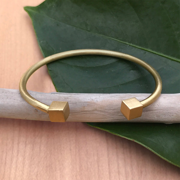 Minimalist brass cuff bracelet fair trade India.