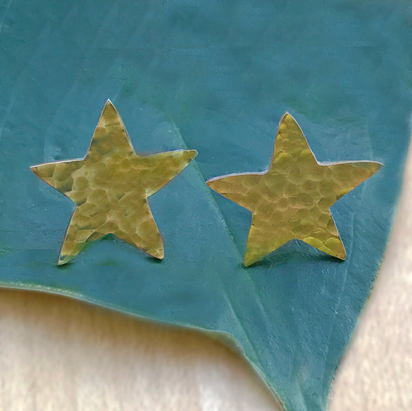 Brass fair trade star earrings studs handmade in India
