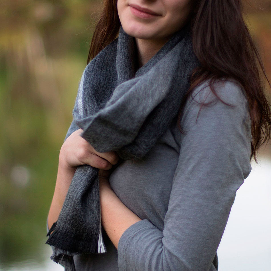 Luxurious Alpaca Scarf - Gray/Black Stripe, Ecuador