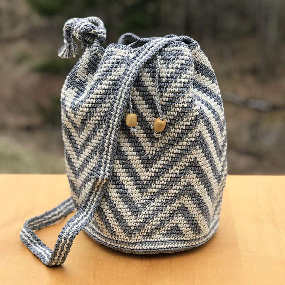 Fair trade bucket bag crocheted cotton handmade by artisans in Guatemala