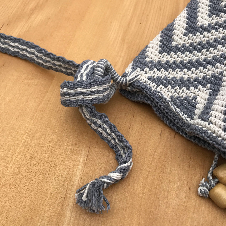 Cotton Crocheted Bucket Bag - Gray Zig, Guatemala
